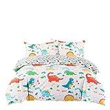 Senmiya Dinosaur Duvet Cover Cartoon Dinosaur Bedding Twin XL Bunk Beds Boys Bedroom Décor 100% Cotton Reversible Kids Bedding Duvet Cover with 2 Pillow Shams, Yellow