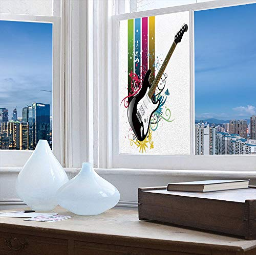TecBillion Frosted Window Film Stained Glass Window Film,Guitar,Work Well in The Bathroom,Bass Guitar on Colorful Vertical Stripes with ()