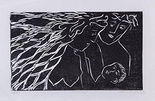 "Maternity, Motherhood, Mother´s day, black friday, Chrsitmas gifts, Xilography art prints, woodblock print, handmade, Costa Rica, home decor, 13"" x 8.5"" Christmas gifts, Sabrina Vargas-Jimenez Family"