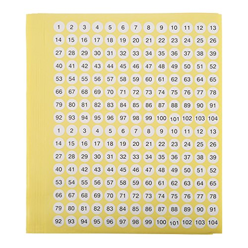 Shappy 1 to 104 Round Self Adhesive Stickers Label Number Stickers Inventory Storage Stickers, 10 Sheet/ 2080 Stickers