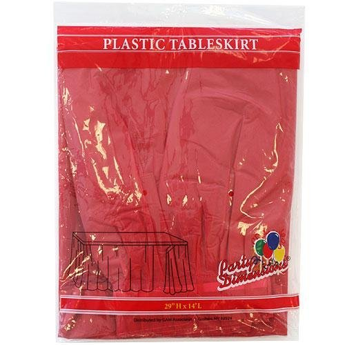 Plastic Table Skirts - 13 Colors- Pack of 2 Select Color: Red -