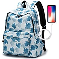 School Backpack, College Middle High Student Laptop Backpack, GENTFOX Water Resistant Tarvel Computer Bag with USB Charging Port, Fit 15.6 inch Notebook (Blue Maple Leaf)
