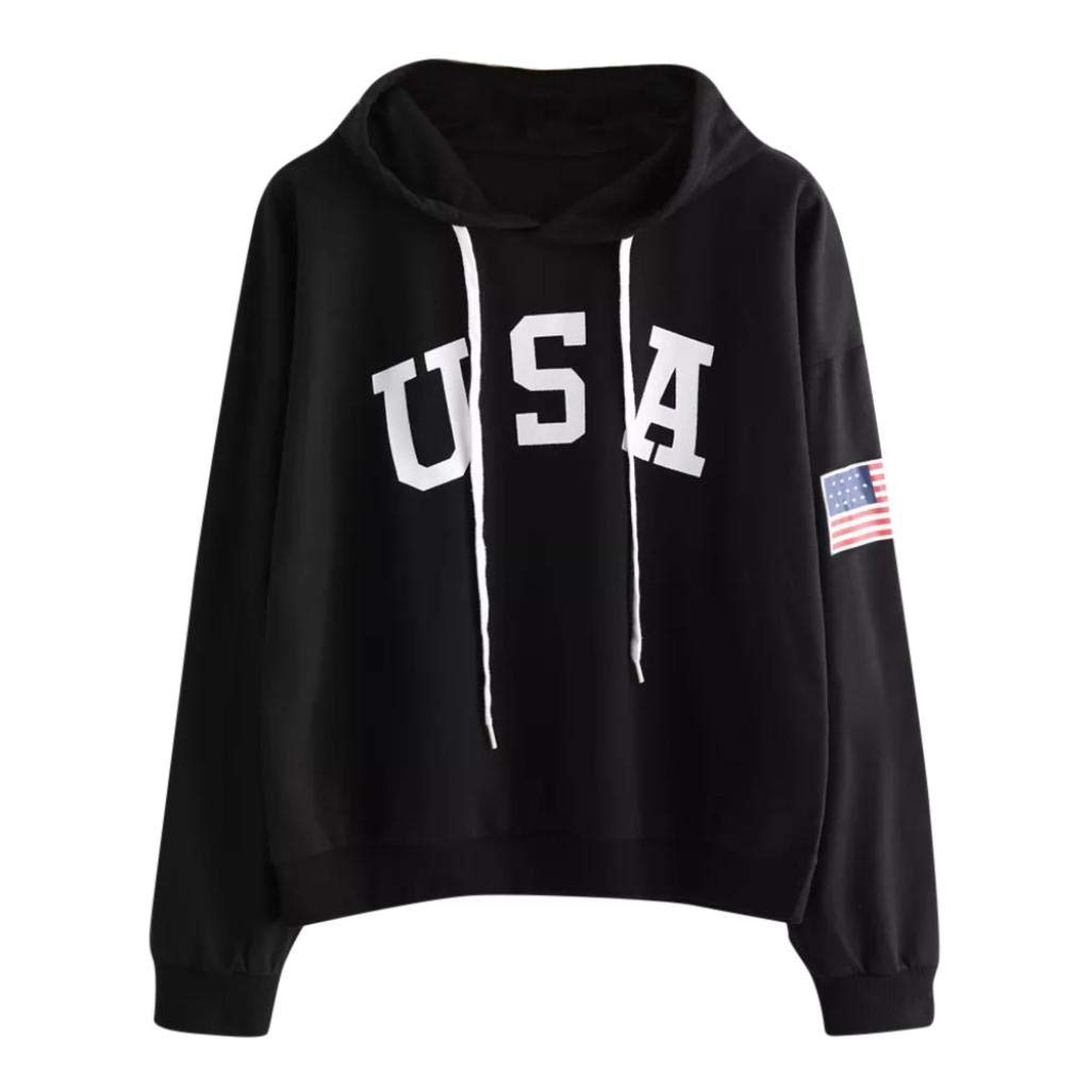 Sweatshirt, ZTY66 Women's USA Letter and Flag Printed Long Sleeve Crewneck Casual Pullover Tops (XL, Black)