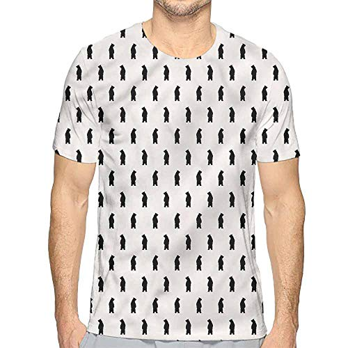 t Shirt for Men Animal,Black Bear Silhouettes Custom t Shirt M