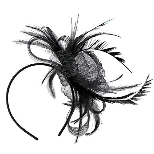 SM SunniMix Wedding Feather Headband 1920s Flapper Great Gatsby Headpieces Halloween]()