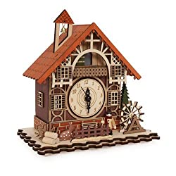 Timber framed Swiss Style House Clock incorporating music box (can cuckoo every hour!) with Led nigh by Small Foot