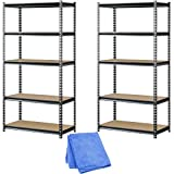 Muscle Rack UR361872PB5PAZ-SV Silver Vein Steel Storage Rack, 5 Adjustable Shelves, 4000 lb. Capacity, 72'' Height x 36'' Width x 18'' Depth (2-Pack) with Dust Cloth