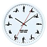 12 Sex Position Retro Wall Clock modern For Bedroom Home Decoration, Battery Operated Round Wall Clock, 12'' (White)