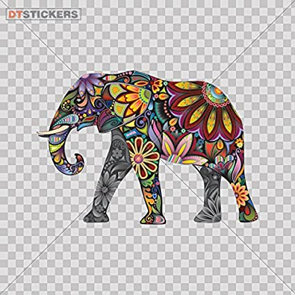 Decal stickers colorful elephant car window wall art decor doors helmet truck motorcycle note book mobile