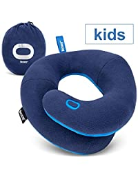 BCOZZY Kids Travel Pillow, Patented Neck & Chin Design to Keep Childs Head from Bobbing in Car Rides & Airplane, Provides Complete Head Support for Comfortable Sleep On The Go. Child, Navy