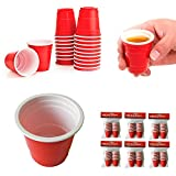 120 ct Mini Red Cups Shot Glasses 2oz Plastic Disposable Party Shooter Jello