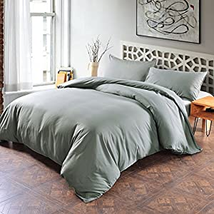 Lightweight Microfiber Duvet Cover Set With Zipper Close,Reversible Color Design (Queen,Light gray) Soft Comfortable 3 Piece (1 Duvet Cover +2 Pillow Shams) by SORMAG