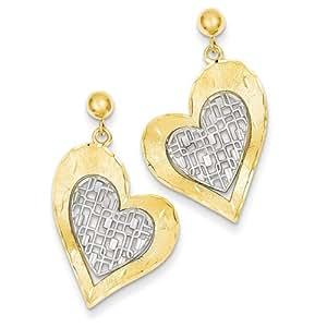 14k Two-tone Gold Heart Post Dangle Earring by UKGems