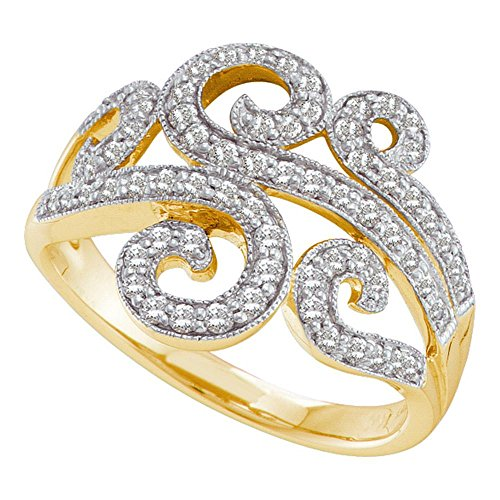 14k Yellow Gold Diamond Cocktail Ring Fashion Band Milgrain Design Swirl Style Womens Fancy 1/2 ctw Size (Gold Swirl Design Ring)