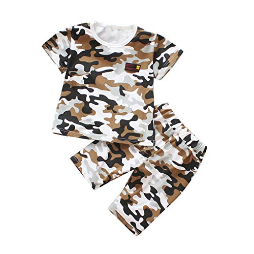 Toddler Baby Infant Boy Summer Clothes Set Short Sleeve T-Shirt+Army Camouflage Shorts Outfits ()