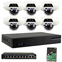 GW Security 9 Channel NVR (6) 5MP 1.9mm MIC Micro SD IR LED IP Security Camera System 2T HD (No Ethernet Network Cable)