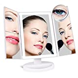 #6: [Upgraded] SUPRENT Lighted Makeup Mirror with 4 LED Tape-lights, Trifold Vanity Mirror with Lights and Touch Screen, 1x/2x/3x/10x Magnification (White)