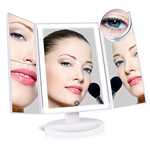 Light Makeup Mirror ([Upgraded] SUPRENT Lighted Makeup Mirror with 4 LED Tape-lights, Trifold Vanity Mirror with Lights and Touch Screen, 1x/2x/3x/10x Magnification (White))