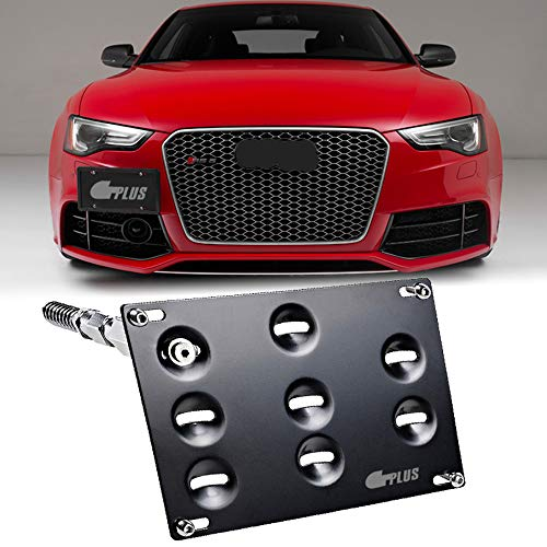 GTP Front Bumper Tow Hook License Plate Mounting Bracket Holder Relocator for Audi 08-15 A4 S4 (B8 ONLY) A5 S5, 11-15 A7 S7, 09-17 Q5, TT RS4 RS5 RS7 Allroad