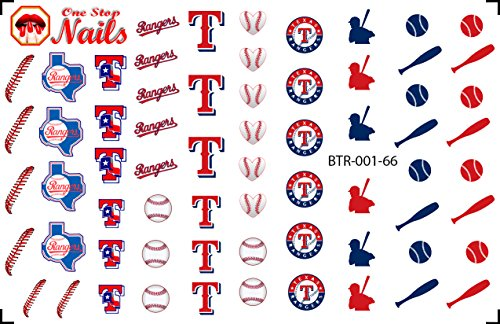 Texas Rangers Clear waterslide nail decals (Nail tattoos) V1. Set of 61. (Rangers Tattoo)