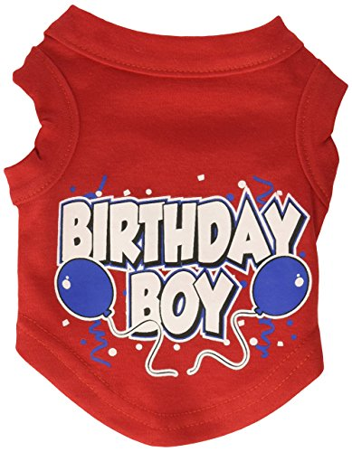 Mirage Pet Products 8-Inch Birthday Boy Screen Print Shirts, X-Small, Red