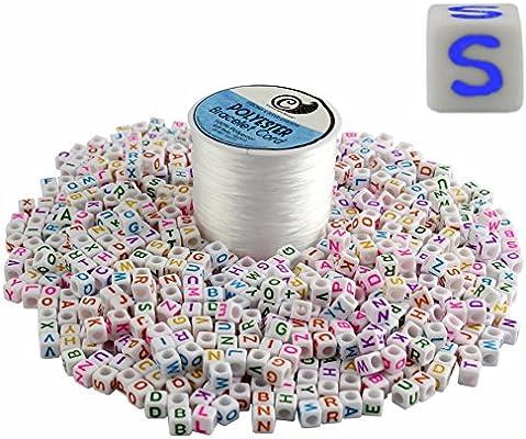 88abb4f36770 800-bead Juego de letra perlas + pulsera hacer elástico bobina de cable   DIY Craft cuadrado letras 6 mm cubos y 50 yardas blanco joyería cadena