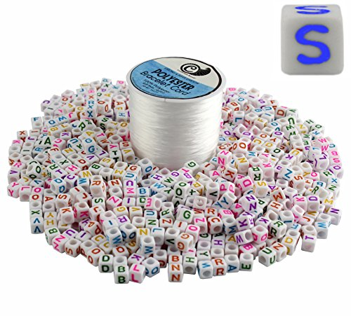 800-Bead Set of Letter Beads + Bracelet Making Stretch Cord Spool; DIY Craft Square Alphabet 6mm Cubes & 50 Yards White Jewelry String (White Beads, Multicolored (Multi Colored Cord)