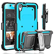 HTC Desire 626 Case, HTC Desire 626s Case, HengTech (TM) Heavy Duty Shockproof Full Protection Rigged Hybrid Case with Belt Clip Holster and Kickstand For HTC 626 / 626s (Blue )