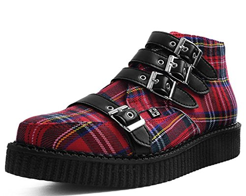 Red Plaid Creeper Shoe - T.U.K. Shoes A9411 Unisex-Adult Boots, Red Plaid 4-Buckle Pointed Boot - US: Men 11 / Women 13 / Red/Black/Fabric