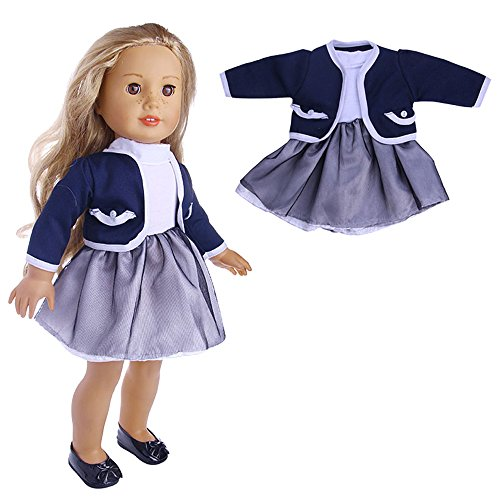 Sandistore Clearance!!! 18 Inch Doll Cute Pleated Dress With Jacket for 18 inch American Girl Our Generation Doll Clothes Jacket Accessories