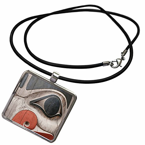 (3dRose Danita Delimont - Native American - Totem Poles, Haida Heritage Centre, Kay Llnagaay, Haida Gwaii, Canada. - Necklace with Rectangle Pendant (ncl_207959_1))