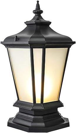 AWISAWIS Lámpara de Exterior IP65 Impermeable, Lámpara de Jardín Antiguo E27 Farola de Jardínen Aluminio y Vidrio Farola de Patio Terraza Paisaje Caminos Iluminación, Negro,Warm Light: Amazon.es: Hogar