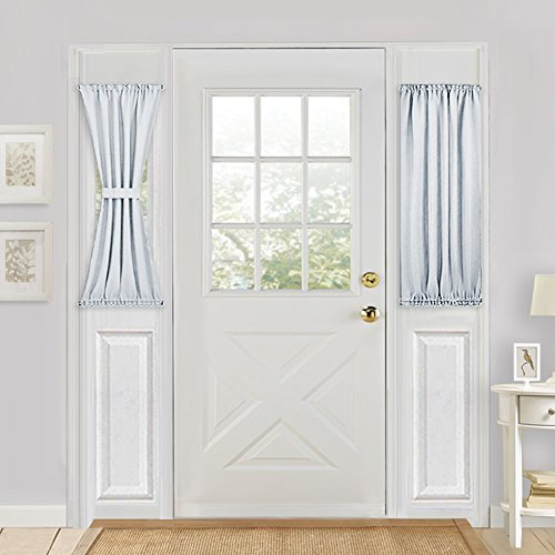 Blackout Patio Door Curtain Panel - PONY DANCE Room Darkening Window Treatment Door Panel for French Door Including Bonus Tieback,25 by 40-inch,,Greyish White,1 Panel (Window Treatment For Patio Doors)