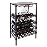 SortWise ® Wine Display Rack Free Standing Bottles Storage Shelf- Holds 24 Bottles of Your Favorite Wine with Wood Table Top & Wineglass Hanger - Elegant Looking French Style Wine Rack to Compliment Any Space, Black (Black / 24 Bottles)