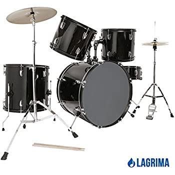 LAGRIMA Black 22'' 5 Piece Complete Adult Drum Set Cymbals Full Size Kit with Stool & Sticks