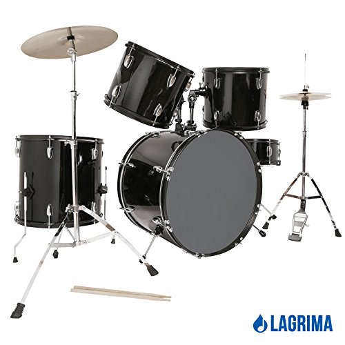 lagrima-black-22-5-piece-complete-adult-drum-set-cymbals-full-size-kit-with-stool-sticks