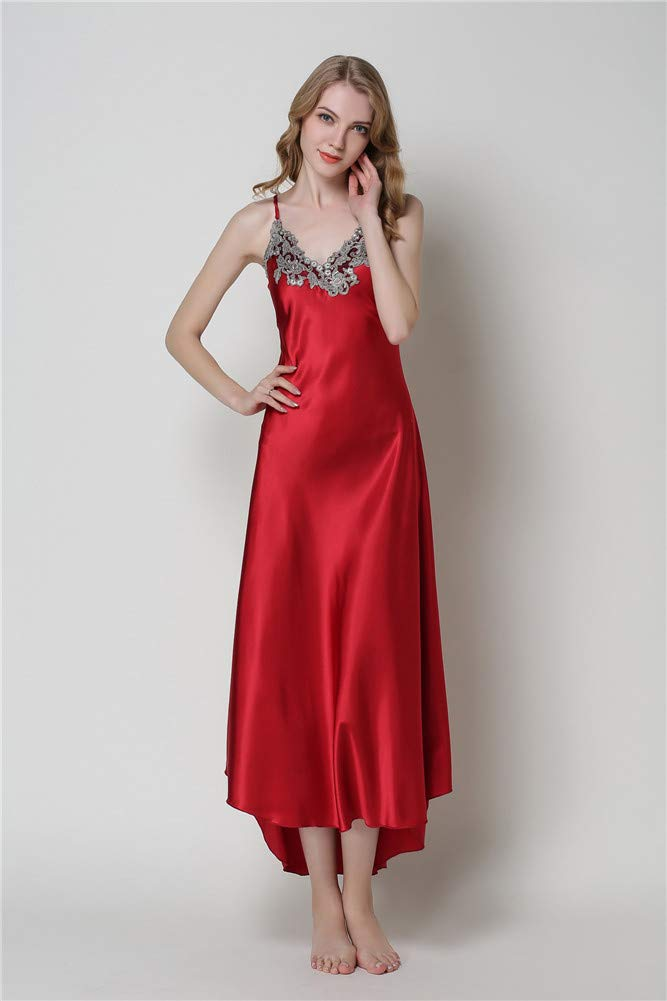 X-xyA Donna Imitazione Seta Lungo Sleepwear Cami Vestito Cinghia Pigiami Camicia da Notte Loungewear,Pink,M