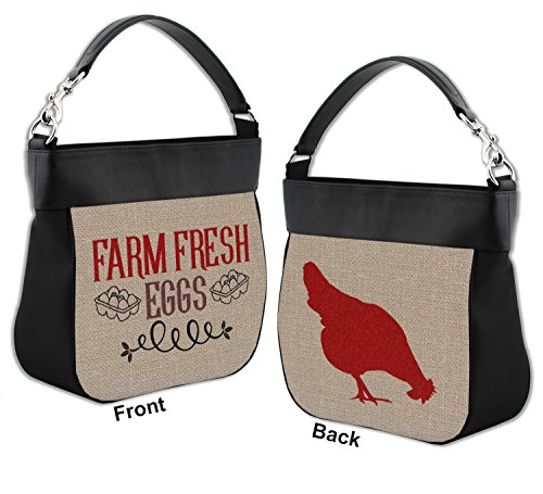 Front Quotes Leather Trim Back Personalized amp; Genuine Hobo w Farm Purse HW0dqq