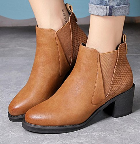 Korean boots fashion version of female set BROWN 120W boots work Martin shoes short boots NSXZ the boots of snow student round rough high with dqzE85wTdx