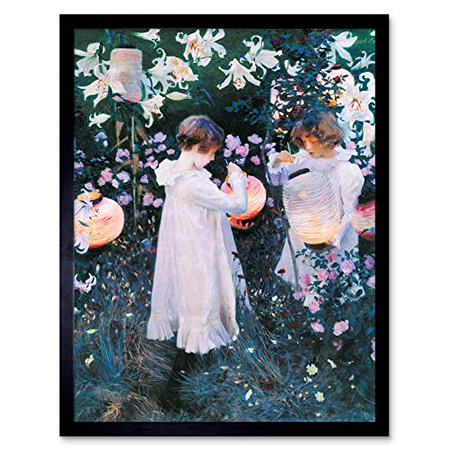 John Singer Sargent Carnation Lily Rose Painting Art Print Framed Poster Wall Decor 12x16 inch