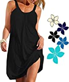 Ecolley Sleeveless Beach Dresses for Women Plain Solid Color Black Summer Casual Dress Soft Size XL