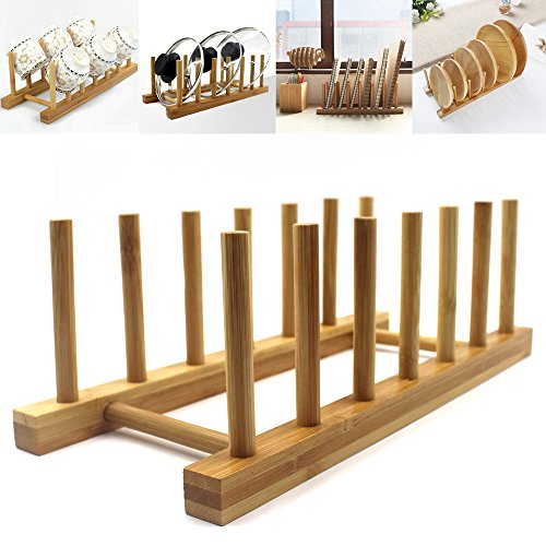 INNERNEED Bamboo Wooden Dish Rack Dishes Drainboard Drying Drainer Storage Holder Stand Kitchen Cabinet Organizer for Dish/Plate/Bowl/Cup/Pot Lid/Book