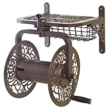 "Liberty Garden Products 714 Decorative Cast Aluminum Navigator Rotating Garden Hose Reel, Holds 150' of 5/8"" Hose, Bronze"