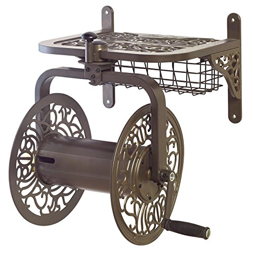 Liberty Garden 714 Decorative Cast Aluminum Navigator Rotating Garden Hose Reel, Holds 125-Feet of 5/8-Inch Hose – Bronze