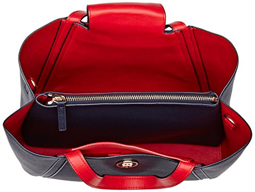 Tommy Hilfiger Bag In Med Work Cb - Borse a mano Donna, Bleu (Navy/red), 13.5x24.5x33 cm (W x H L)
