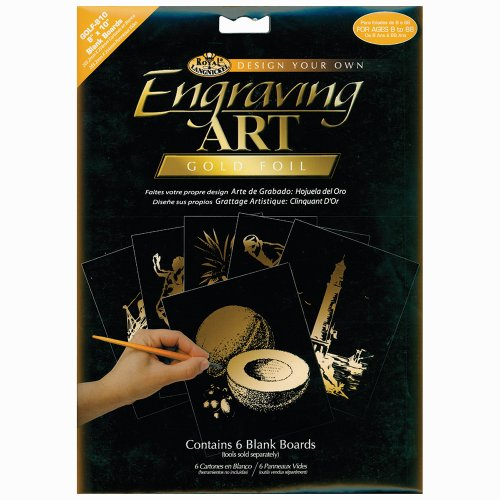 (Royal Langnickel 8-Inch by 10-Inch Foil Engraving Art Blank Boards, Gold )