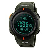 SKMEI Men Outdoor Sports Compass Watch Shock Resistant Waterproof World Time LED Digital Wrist Watches (Army Green)