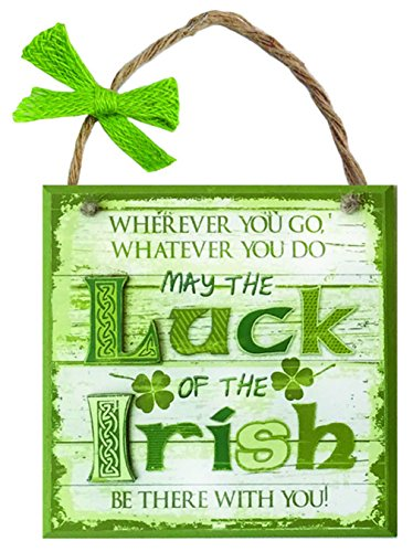 Carrolls Irish Gifts Rustic Ireland 'May The Luck Of The Irish Be There With You' Wooden Plaque]()