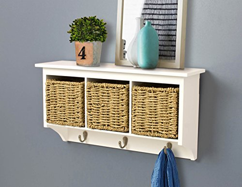 AHDECOR Wall Mount Coat Rack Storage Shelf Cubby Organizer Hooks Entryway with Seagrass Baskets in White Finish (White)