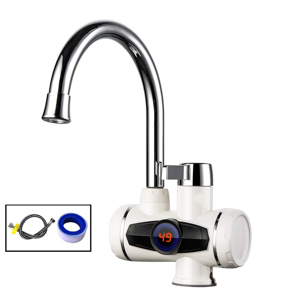 Lower Inlet YULAN Electric Faucet Quick Heat Instant Heating Kitchen Treasure Fast Over Tap Water Hot Household Electric Heating Hot And Cold, Intelligent Digital Display (color   Lower inlet)